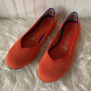 Rothy's persimmon here stripe round toe flat